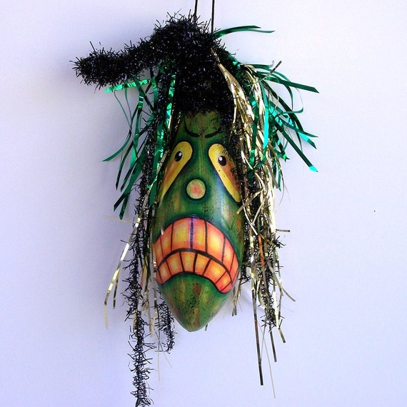 Reserve for Julie Gourd Ornament Haunted Halloween Gourd - Handpainted and Homegrown