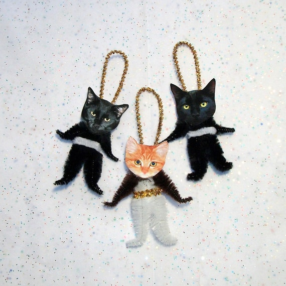 CATS Chenille Vintage Style Holiday Ornaments set52