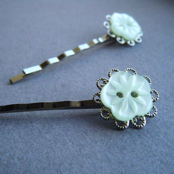 Mint Snowflakes. Handmade Button Bobby Pins.