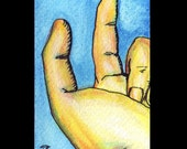 Original ACEO Beckoning Finger, acrylic and ink