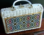Vintage Princess Charming Atlas Wicker and Lucite Handbag