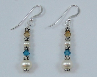 Indicolite and Light Brown Swarovski Crystal and Pearl Earrings (E113a)
