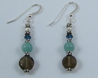 Smoky Quartz and Amazonite Earrings (E106)