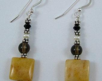 Citrine, Smoky Quartz, Jet Black Swarovski Crystal and Pearl Earrings (E100)