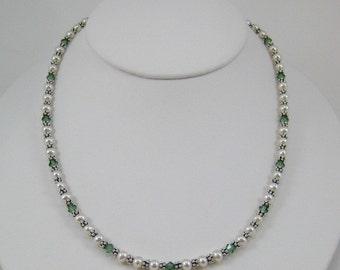 Erinite Swarovski Crystal and Pearl Necklace (N118a)
