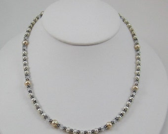 White and Peach Pearls with Crystal Colored Swarovski Crystals Necklace (N117)