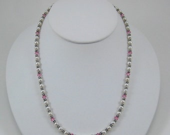 Light Pink Swarovski Crystal and Pearl Necklace (N114a)