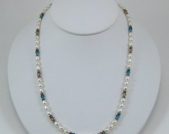 Indicolite and Light Brown Swarovski Crystal and Pearl Necklace (N112)
