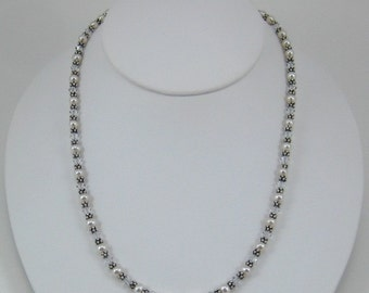 Crystal Colored Swarovski Crystal and Pearl Necklace (N109)