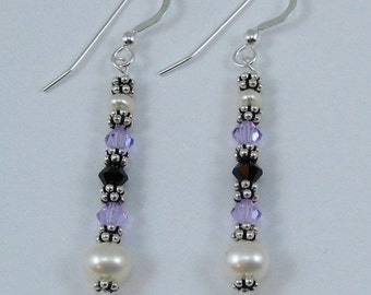 Violet and Deep Purple Swarovski Crystal and Pearl Earrings (E119b)