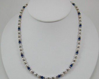 Sapphire Blue Swarovski Crystal and Pearl Necklace (N105a)