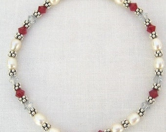 Pearl and Red Swarovski Stretch Bracelet (B118)