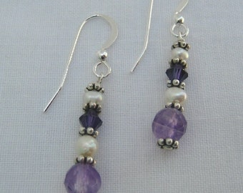 Amethyst and Pearl Earrings (E18)