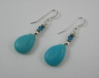 Dyed Howlite and Swarovski Earrings (E53)