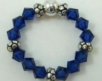 Dark Sapphire Blue Swarovski Crystal and Sterling Silver Stretch Ring (R32)