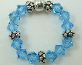 Medium Blue Swarovski Crystal and Sterling Silver Stretch Ring (R33)