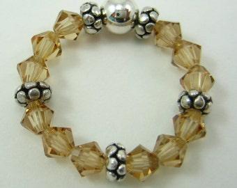 Light Brown Swarovski Crystal and Sterling Silver Stretch Ring (R43)
