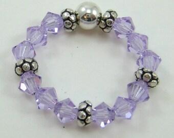 Violet Swarovski Crystal and Sterling Silver Stretch Ring (R47)