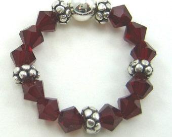 Siam Red Swarovski Crystal and Sterling Silver Stretch Ring (R51)