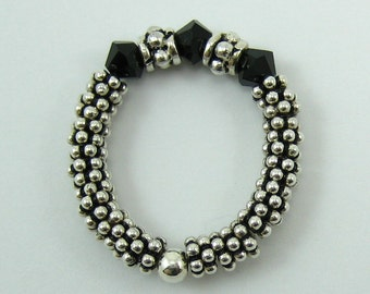 1 Sterling Silver Stretch Ring with Jet Black Swarovski Crystals (R1)