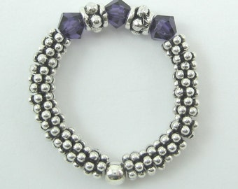 1 Sterling Silver Stretch Ring with Purple Velvet Swarovski Crystals (R7)
