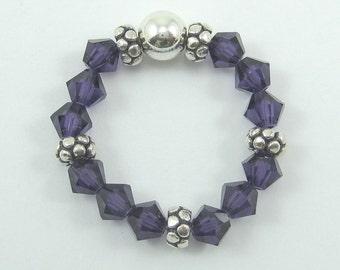 Purple Velvet Swarovski Crystal and Sterling Silver Stretch Ring (R37)