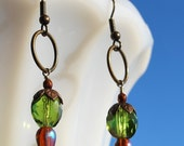 Bronze Aged Green and Brown Earrings