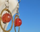 Contemporary Pinky Orange Jade Earrings