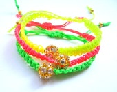 Neon Yellow Green And Orange Braided Bracelets -Free Shipping