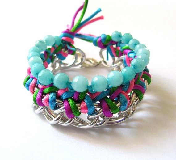 Colorful Braided Bracelet with Aquamarine Stones - Free Shipping