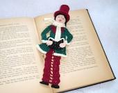 crochet bookmark male victorian caroler,