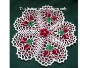 crochet doily pattern: rose budding hearts PDF file