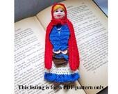 crochet PDF pattern, little red riding hood bookmark
