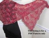 knit wrap pattern PDF file hearts and diamonds