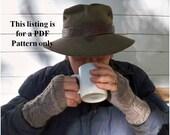 Mens knit fingerless gloves pattern, PDF file