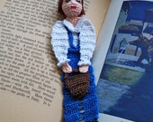 jack and jills, jack with pail thread crochet bookmark