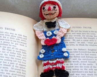 raggedy andy crochet bookmark out of thread, readers gift, men, graduation gift, unique bookmark, red, white and blue,