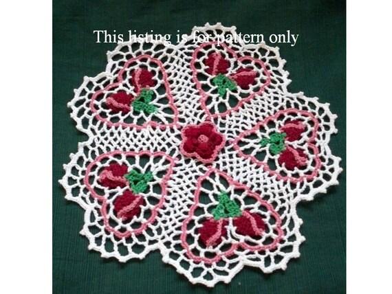 crochet doily pattern: rose budding hearts PDF file, Valentine crochet pattern
