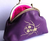 Ladybug coin purse in purple leather