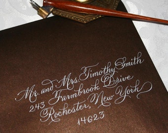 Calligraphy Envelope Addressing for Weddings. Burgues Script. Dip Pen and Ink