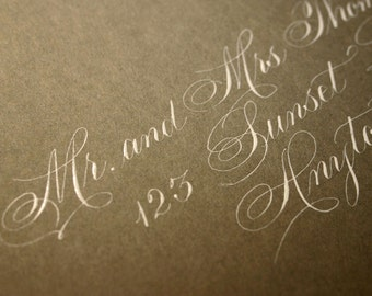 Flourished Spencerian Calligraphy Wedding Envelope Addressing