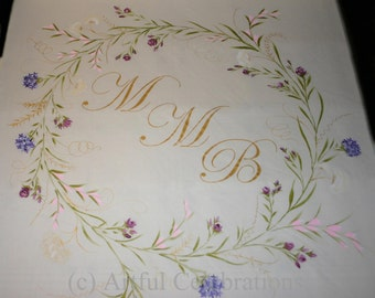 Custom Wedding Aisle Runner,  Hand Painted, DEPOSIT for any length or design