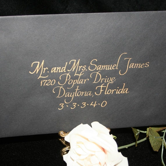 6x9 Wedding Invitation Envelopes: Calligraphy Wedding Envelope Addressing ITALICS Envelope
