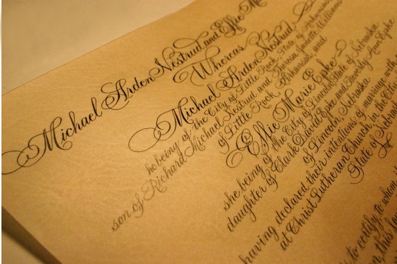 Wedding Marriage Certificate Custom Calligraphy by Hand, Real Parchment Vellum, DEPOSIT