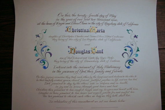 Wedding Certificate, Personalized Marriage Scroll Deposit - Calligraphy by Hand, Hand Painted