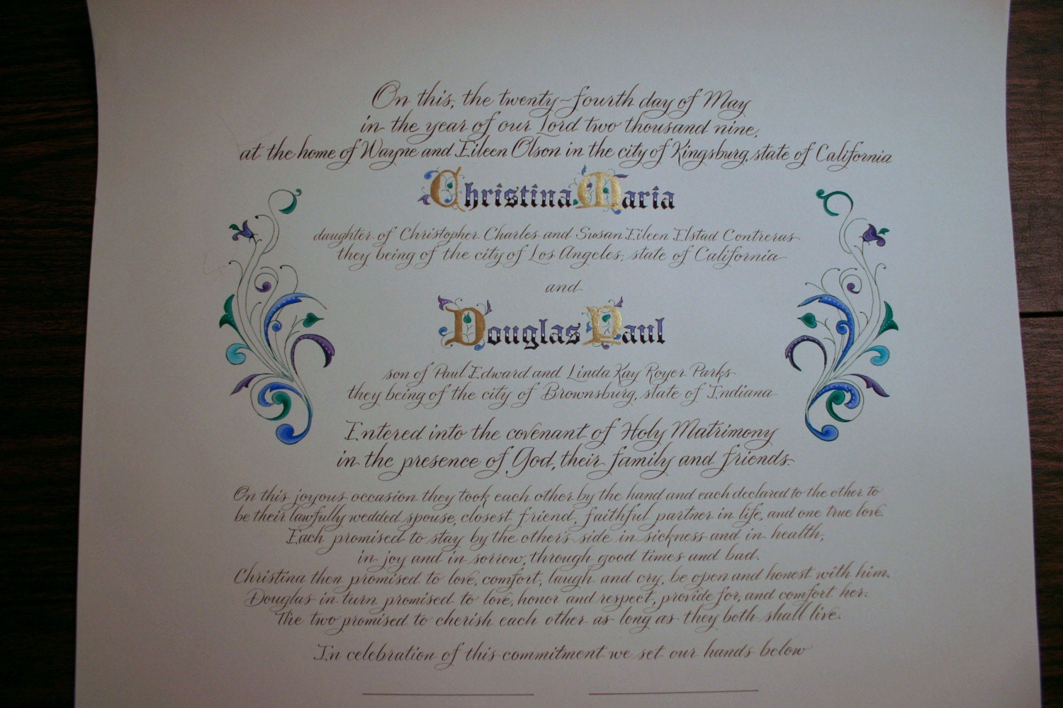 quaker marriage certificate wedding certificate Wedding Certificate Personalized Marriage Scroll Deposit Calligraphy by Hand Hand Painted