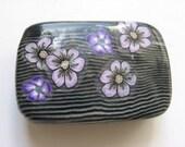 Purple Flowers Black Striped Polymer Clay Millefiori Trinket Box