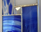 Blue Modern Stained Glass Suncatcher, no. 3