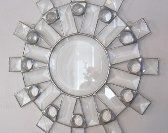 Sunburst Clear Beveled Stained Glass Suncatcher