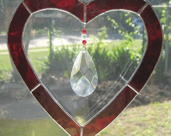 Stained Glass Heart with Beveled Faceted Jewel - Stained Glass Suncatcher